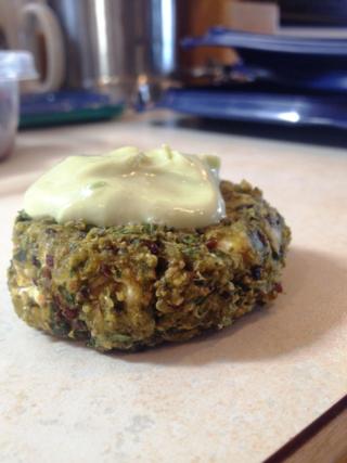 Quinoa Cakes with Avocado Cream